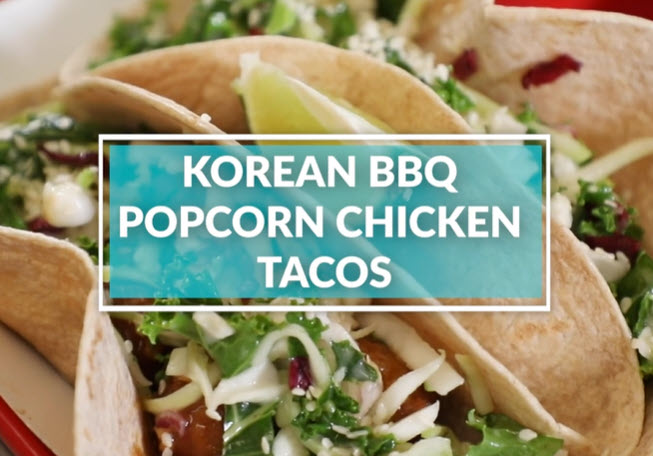 Korean BBQ Popcorn Chicken Tacos